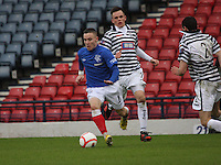 Barrie McKay gets away from Lawrence Shankland in the Queen's Park v Rangers Irn-Bru Scottish League Division Three match played at Hampden Park, Glasgow on 29.12.12.