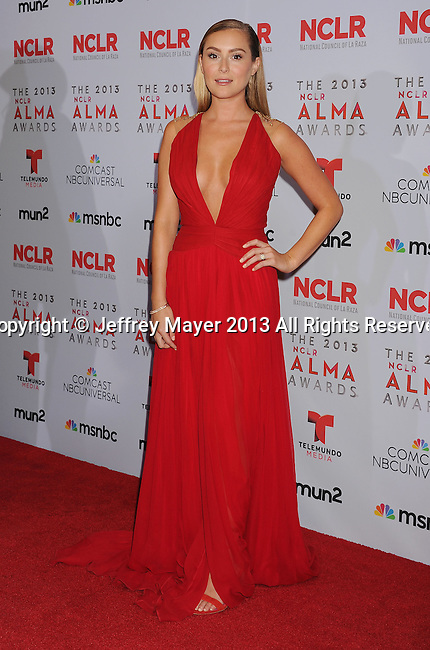 PASADENA, CA- SEPTEMBER 27: (L-R) Actress Alexa Vega poses in the press room at the 2013 NCLA ALMA Awards at Pasadena Civic Auditorium on September 27, 2013 in Pasadena, California.