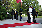 United States President Barack Obama (R) welcomes  Sheikh Tameem bin Hamad Al Thani, Amir of the State of Qatar, to the White House May 13, 2015 in Washington, DC. Obama is hosting a summit of the Persian Gulf countries in Washington and at Camp David tomorrow. <br /> Credit: Chip Somodevilla / Pool via CNP