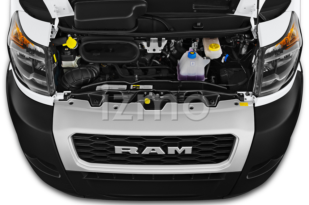 Car stock 2019 Ram Promaster Base 3 Door Cargo Van engine high angle detail view