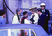 Prince Charles and Princess Diana are greeted on their arrival at the Washington National Cathedral in Washington, DC  by Reverend John Walker and Reverend Charles Perry on November 10, 1985.<br /> Credit: Arnie Sachs / CNP