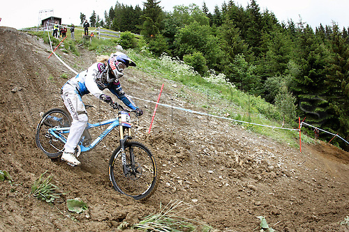 12.06.2011.  Cycling UCI World Cup Leogang Austria 12 Jun 11 Divers Cycling Mountainbike UCI World Cup Downhill women Picture shows Rachel Atherton GBR