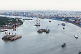 VIETNAM, Saigon, Ho Chi Minh City, an elevated view of the Saigon river shot from the top of the Renaissance Riverside Hotel