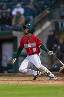 Fort Wayne TinCaps Xavier Edwards (9) hits a single during a Midwest League game against the Fort Wayne TinCaps at Parkview Field on April 30, 2019 in Fort Wayne, Indiana. Kane County defeated Fort Wayne 7-4. (Zachary Lucy/Four Seam Images)