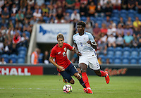 Kortney Hause (Wolverhampton Wanderers) of England moves away from Martin Odegaard (Real Madrid) of Norway during the International EURO U21 QUALIFYING - GROUP 9 match between England U21 and Norway U21 at the Weston Homes Community Stadium, Colchester, England on 6 September 2016. Photo by Andy Rowland / PRiME Media Images.