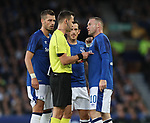 Wayne Rooney of Everton talks to refer Ivan Kruzliak during the Europa League Qualifying Play Offs 1st Leg match at Goodison Park Stadium, Liverpool. Picture date: August 17th 2017. Picture credit should read: David Klein/Sportimage