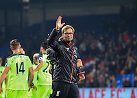 Jurgen Klopp Manager of Liverpool celebrates the win with the fans during the EPL - Premier League match between Crystal Palace and Liverpool at Selhurst Park, London, England on 29 October 2016. Photo by Steve McCarthy.