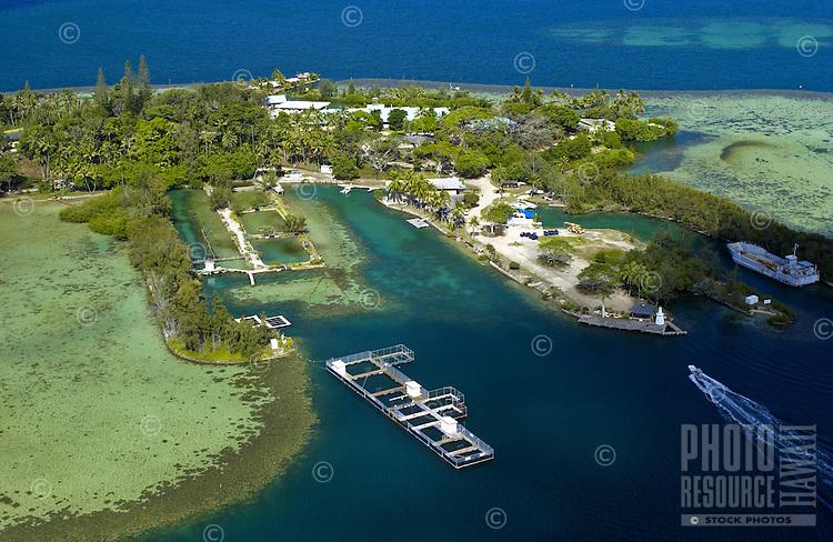 Aerial of coconut island, Kaneohe Bay, Oahu