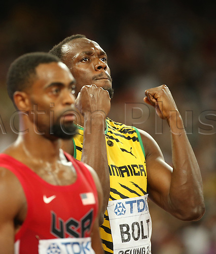 22.08,2015. Beijing, China.   Usain Bolt of Jamaica (R) prepares next to Tyson Gay of USA for the Men's 100 M Final at the 15th International Association of Athletics Federations (IAAF) Athletics World Championships in Beijing, China, 23 August 2015.