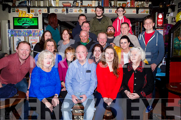 Birthday boy John Gueran from Railway Terrace, seated front centre with his family and friends as he celebrates his BIG 50 in Turners on Friday night last.