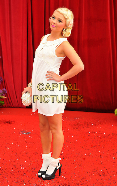 JESSICA FORREST.Attending the British Soap Awards 2011, .Granada Television Studios, Quay Street, Manchester, England, UK, .March 14th 2011..arrivals full length white dress hand on hip ankle socks sleeveless black peep toe shoes .CAP/CAS.©Bob Cass/Capital Pictures.