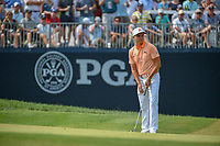 Rickie Fowler (USA) watches his putt on 9 during 4th round of the 100th PGA Championship at Bellerive Country Club, St. Louis, Missouri. 8/12/2018.<br /> Picture: Golffile | Ken Murray<br /> <br /> All photo usage must carry mandatory copyright credit (&copy; Golffile | Ken Murray)
