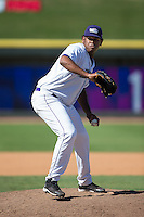 Winston-Salem Dash relief pitcher Jefferson Olacio (39) in action against the Lynchburg Hillcats at BB&T Ballpark on August 2, 2015 in Winston-Salem, North Carolina.  The Hillcats defeated the Dash 8-3.  (Brian Westerholt/Four Seam Images)