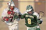 Palos Verdes, CA 03/23/10 - Tony Romeri (PV # 7) and Zack Missioreck (MC # 8) in action during the Mira Costa-Palos Verdes Junior Varsity game at Palos Verdes High School, Palos Verdes defeated Mira Costa.