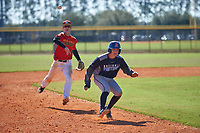 Adam Levins (15) of Palmetto, Florida during the Baseball Factory All-America Pre-Season Rookie Tournament, powered by Under Armour, on January 14, 2018 at Lake Myrtle Sports Complex in Auburndale, Florida.  (Michael Johnson/Four Seam Images)