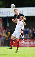 Lincoln City's Sean Raggett vies for possession with Lincoln United's Matt Cotton<br /> <br /> Photographer Chris Vaughan/CameraSport<br /> <br /> Football - Pre-Season Friendly - Lincoln United v Lincoln City - Saturday 8th July 2017 - Sun Hat Villas Stadium - Lincoln<br /> <br /> World Copyright &copy; 2017 CameraSport. All rights reserved. 43 Linden Ave. Countesthorpe. Leicester. England. LE8 5PG - Tel: +44 (0) 116 277 4147 - admin@camerasport.com - www.camerasport.com