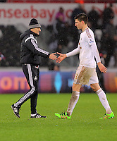 (L-R) Swansea head coach Francesco Guidolin thanks his player Federico Fernandez after the Barclays Premier League match between Swansea City and Crystal Palace at the Liberty Stadium, Swansea on February 06 2016
