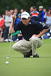 Peter Lawrie (IRL) lines up his putt on the 18th green during the Final Day Sunday  of The Irish Open presented by Discover Ireland at Killarney Golf & Fishing Club on 31st July 2011 (Photo Fran Caffrey/www.golffile.ie)