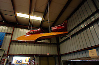 The Antique Boat Museum: an Italian built hydroplane hangs in the Dodge Launch Building.