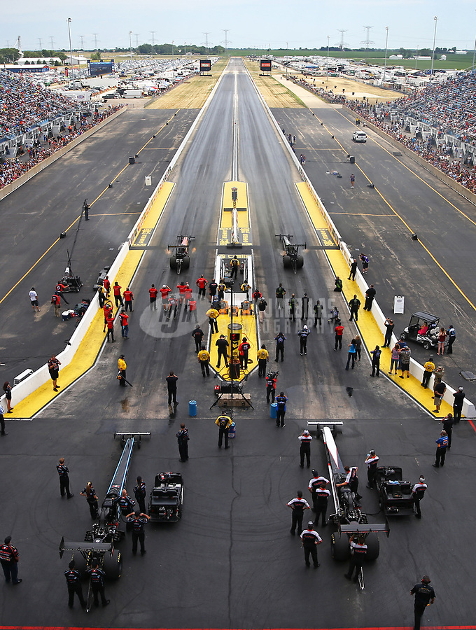 Jul 9, 2017; Joliet, IL, USA; Overall view of Route 66 Raceway as NHRA top fuel drivers race during the Route 66 Nationals. Mandatory Credit: Mark J. Rebilas-USA TODAY Sports