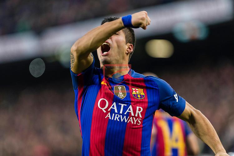 League Santander 2016/2017. Game: 14.<br /> FC Barcelona vs Real Madrid: 1-1.<br /> Luis Suarez.