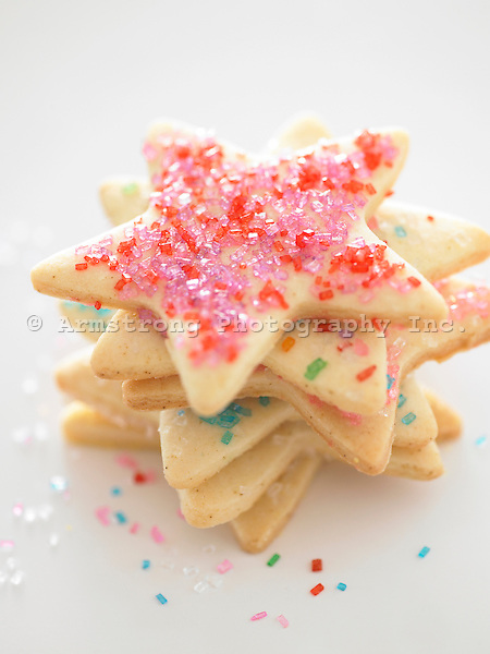 Sugar cookies with colored sprinkles in the shape of stars