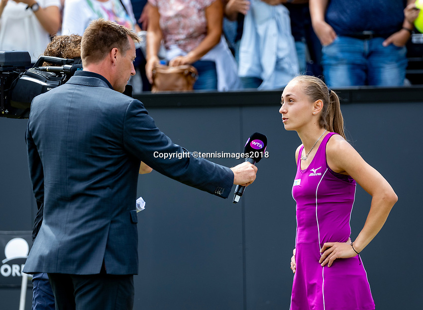 Den Bosch, Netherlands, 16 June, 2018, Tennis, Libema Open, Aleksandra Krunic (SRB) is being interviiewd by Edward van Cuilenborg<br /> Photo: Henk Koster/tennisimages.com