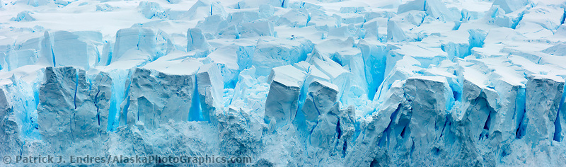 Glacier seraques at a tidewater glacier face in Neko Harbor, Andvord Bay, Antarctica.
