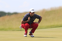Patrick Reed (USA) lines up his putt on the 6th green during Friday's Round 2 of the 117th U.S. Open Championship 2017 held at Erin Hills, Erin, Wisconsin, USA. 16th June 2017.<br /> Picture: Eoin Clarke | Golffile<br /> <br /> <br /> All photos usage must carry mandatory copyright credit (&copy; Golffile | Eoin Clarke)