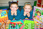 Twins Daniel and Ciara Dinnen who started school in Holy Family NS, Rathmore on Thursday ....