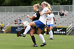 18 September 2011: Florida State's Ella Stephan (left) is defended by Duke's Libby Jandl (right). The Duke University Blue Devils defeated the Florida State University Seminoles 2-1 at Koskinen Stadium in Durham, North Carolina in an NCAA Division I Women's Soccer game.