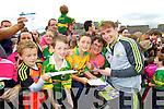 Kiegan Moloney (Moyvane) Danny Hickey, Jack Hickey Jackie Hickey (Gneeveguilla) with  Kerry Senior footballer Marcus Mangan at Kerry GAA family day at Fitzgerald Stadium on Saturday.