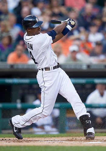 August 21, 2012:  Detroit Tigers centerfielder Austin Jackson (14) at bat during MLB game action between the Toronto Blue Jays and the Detroit Tigers at Comerica Park in Detroit, Michigan.  The Tigers defeated the Blue Jays 5-3.
