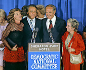 Democratic Vice Presidential nominee R. Sargeant Shriver, left center, his wife, Eunice Kennedy Shriver, left, stand with U.S. Senator George McGovern (Democrat of South Dakota), the 1972 Democratic Nominee for President, right center, and his wife  Eleanor, right, after Shriver's acceptance speech at the Democratic National Convention Special Session in Washington, D.C. on August 8, 1972.  Shriver takes the place of U.S. Senator Tom Eagleton (Democrat of Missouri) on the ticket..Credit: Arnie Sachs / CNP