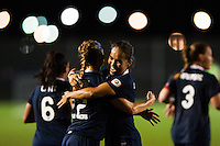 Sky Blue FC forward Monica Ocampo (8) celebrates scoring her second goal. Sky Blue FC and FC Kansas City played to a 2-2 tie during a National Women's Soccer League (NWSL) match at Yurcak Field in Piscataway, NJ, on June 26, 2013.