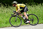 Race leader Yellow Jersey Adam Yates (GBR) Mitchelton-Scott in action during Stage 7 of the Criterium du Dauphine 2019, running 133.5km from Saint-Genix-les-Villages to Les Sept Laux - Pipay, France. 15th June 2019.<br /> Picture: ASO/Alex Broadway | Cyclefile<br /> All photos usage must carry mandatory copyright credit (© Cyclefile | ASO/Alex Broadway)