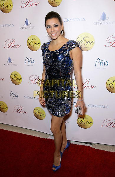 EVA LONGORIA PARKER.New Year's Eve at Eva Longoria's new Las Vegas nightclub Eve at Citycenter,  Las Vegas, Nevada, USA, .31st December 2009..NYE full length blue silver sequined sequin dress peep toe shoes clutch bag .CAP/ADM/MJT.© MJT/AdMedia/Capital Pictures.