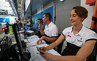 The Scott Rice commentary team. AON Swimming New Zealand National Open Swimming Championships, National Aquatic Centre, Auckland, New Zealand, Monday 2nd July 2018. Photo: Simon Watts/www.bwmedia.co.nz
