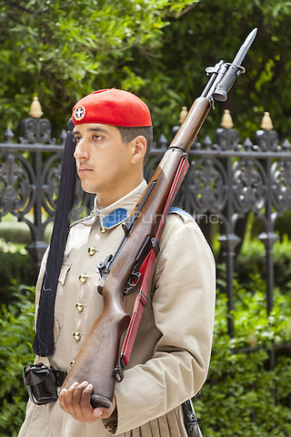 Greek soldier, an Evzone, outside the Presidential Palace, Athens, Greece <br /> CAP/MEL<br /> &copy;MEL/Capital Pictures /MediaPunch ***NORTH AND SOUTH AMERICA ONLY***