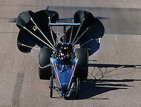 Feb 26, 2016; Chandler, AZ, USA; NHRA top dragster driver XXXX during qualifying for the Carquest Nationals at Wild Horse Pass Motorsports Park. Mandatory Credit: Mark J. Rebilas-