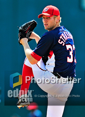 14 March 2010: Washington Nationals' pitcher Stephen Strasburg on the mound during a Spring Training game against the St. Louis Cardinals at Space Coast Stadium in Viera, Florida. The Cardinals defeated the Nationals 7-3 in Grapefruit League action. Mandatory Credit: Ed Wolfstein Photo