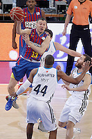 Real Madrid's Carlos Suarez (b), Marcus Slaughter (d) and Sergio Rodriguez (r) and FC Barcelona Regal's Sarunas Jasikevicius (l) during Spanish Basketball King's Cup match.February 07,2013. (ALTERPHOTOS/Acero) /Nortephoto