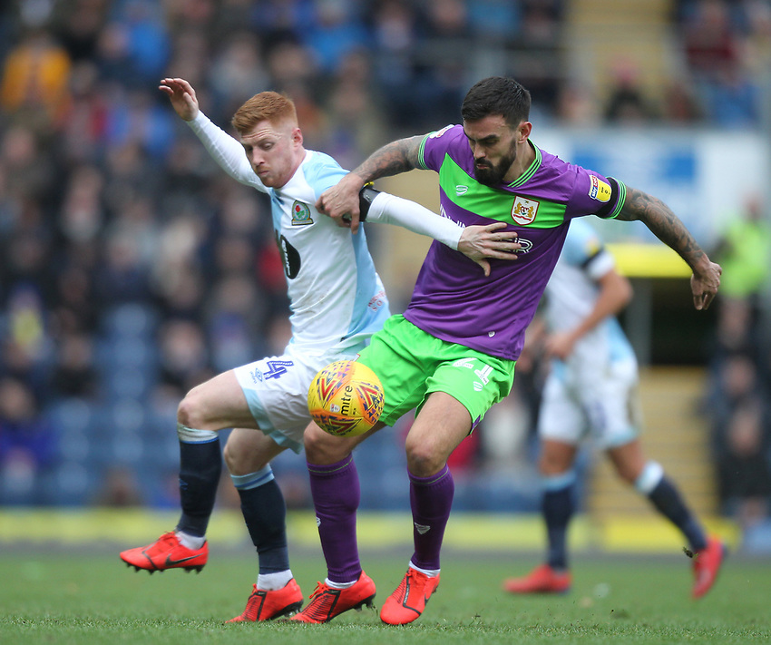 Blackburn Rovers Harrison Reed battles with  Bristol City's Marlon Pack<br /> <br /> Photographer Mick Walker/CameraSport<br /> <br /> The EFL Sky Bet Championship - Blackburn Rovers v Bristol City - Saturday 9th February 2019 - Ewood Park - Blackburn<br /> <br /> World Copyright © 2019 CameraSport. All rights reserved. 43 Linden Ave. Countesthorpe. Leicester. England. LE8 5PG - Tel: +44 (0) 116 277 4147 - admin@camerasport.com - www.camerasport.com