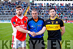 Daithí Casey Dr Crokes and Eanna Ó Conchúir West Kerry with Referee Brendan Griffin in the Kerry Senior Football Championship Semi Final at Fitzgerald Stadium on Saturday.