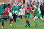 P. Vuli takes the pass from M. Tupou. Counties Manukau Premier Club Rugby round 5 game between Waiuku and Drury played at Waiuku on the 12th of May 2007. Waiuku led 33 - 0 at halftime and went on to win 57 - 5.