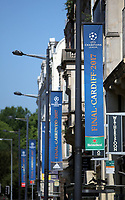 Pictured: UEFA Champions League banners on Westgate Street Thursday 25 May 2017<br /> Re: Preparations for the UEFA Champions League final, between Real Madrid and Juventus in Cardiff, Wales, UK.