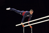 21st March 2018, Arena Birmingham, Birmingham, England; Gymnastics World Cup, day one, mens competition; Dominick Cunningham (GBR) on the Parallel Bars during Training