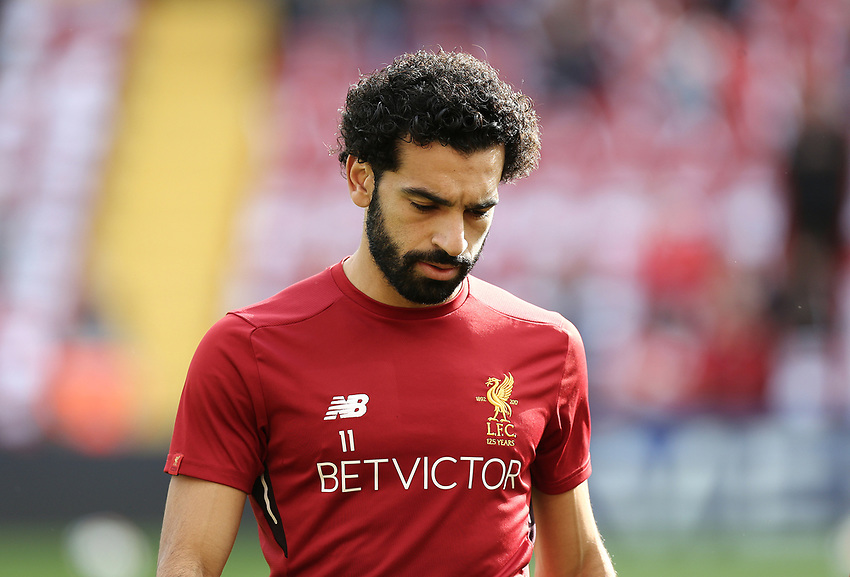 Liverpool's Mohamed Salah during the pre-match warm-up <br /> <br /> Photographer Rich Linley/CameraSport<br /> <br /> The Premier League - Liverpool v Manchester United - Saturday 14th October 2017 - Anfield - Liverpool<br /> <br /> World Copyright &copy; 2017 CameraSport. All rights reserved. 43 Linden Ave. Countesthorpe. Leicester. England. LE8 5PG - Tel: +44 (0) 116 277 4147 - admin@camerasport.com - www.camerasport.com