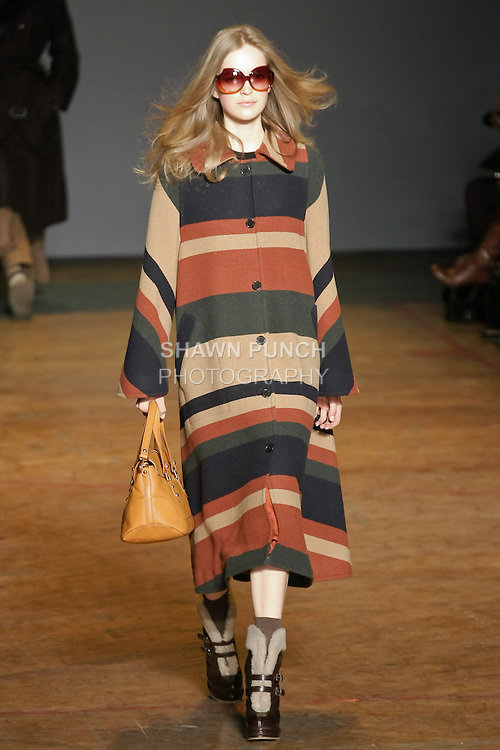 Mirte Maas walks runway in an outfit from the Marc by Marc Jacobs Fall/Winter 2011 collection, during New York Fashion Week, Fall 2011.
