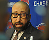 David Fizdale, New York Knicks Head Coach, speaks with the media during a news conference at Madison Square Garden Training Center in Greenburgh, NY on Friday, June 22, 2018.
